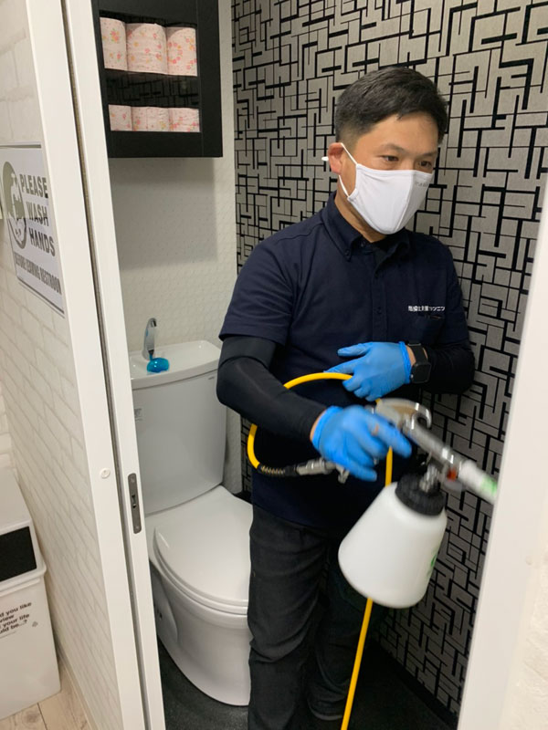 トイレ・水回りの光触媒抗菌コーティング施工風景